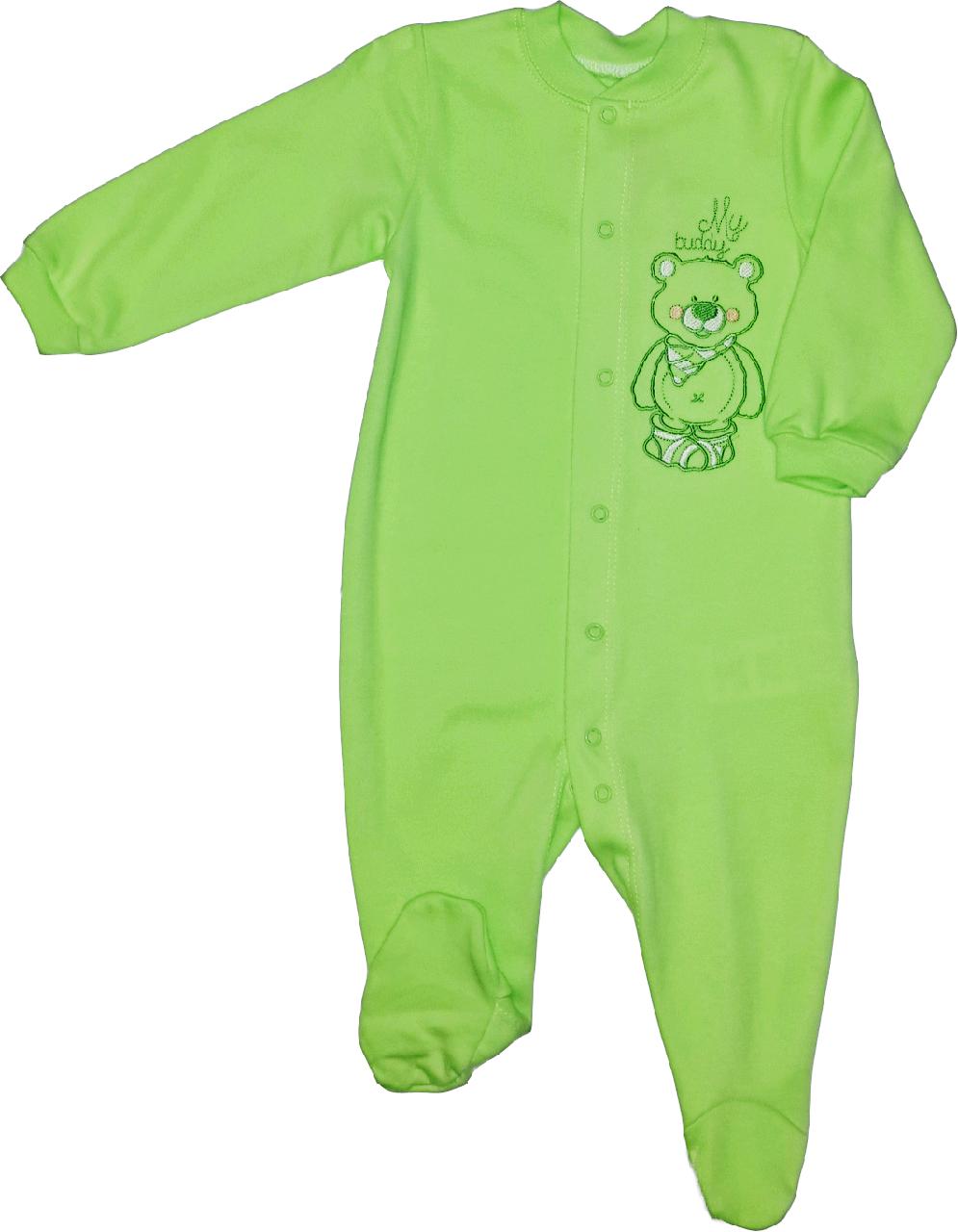 Комбинезон человечек хлопковый ТМ Бемби КБ77 зеленый без капюшона размер 74 80