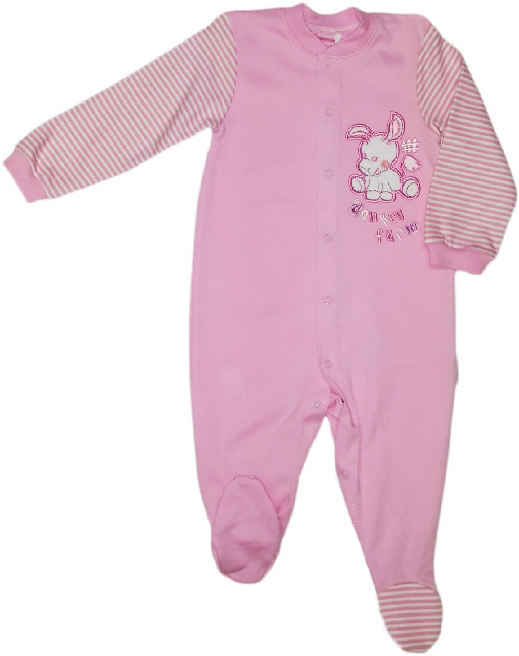Комбинезон человечек хлопковый для девочки ТМ Бемби КБ77 розовый без капюшона размер 80