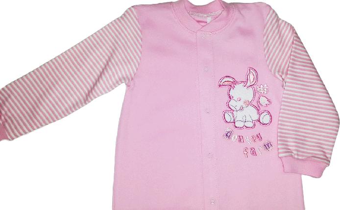 Комбинезон человечек хлопковый для девочки ТМ Бемби КБ77 розовый без капюшона размер 80, фото 2