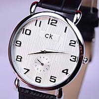 Часы наручные CK Calvin Klein в стальном цвете, белый циферблат