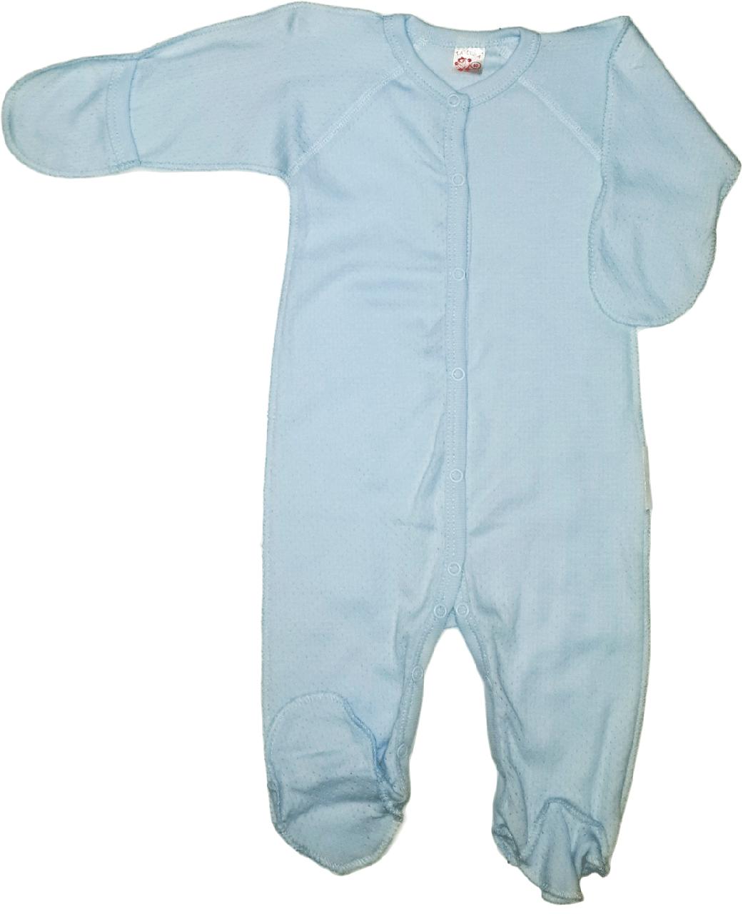 Комбинезон человечек для мальчика Татошка 151153 голубой с антицарапками без капюшона размер 62