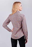 Рубашка женская клетчатая, длинный рукав AG-0003083 (Сине-бордовый)