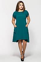 Платье  Милана короткий рукав бутылочного цвета