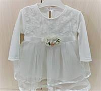 Платье для новорожденных молочное с фатиновой юбкой и кружевом