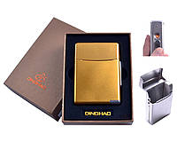 Портсигар с USB зажигалкой №4845 Gold, сигаретная пачка на 20 сигарет, спираль накаливания, необычный гаджет