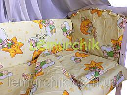 """Постільний набір в дитячу ліжечко (8 предметів) Premium """"Ведмедики на місяці"""" жовтий"""