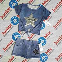 Катоновый летний костюм на девочку с вышитой звездой с паеток  Angelina