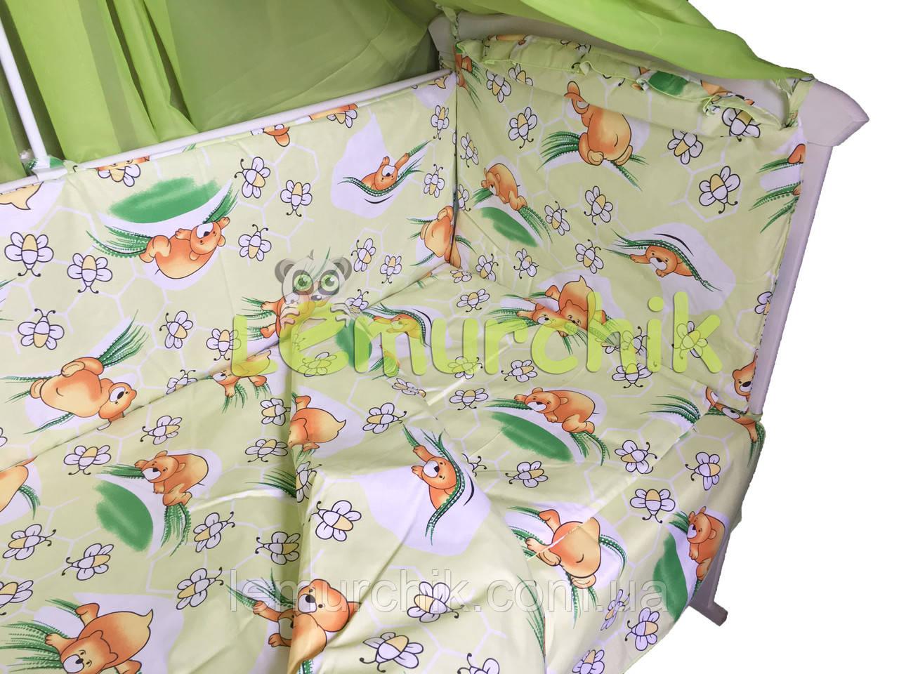 """Постільний набір в дитячу ліжечко (8 предметів) Premium """"Ведмедики соти"""" зелений"""