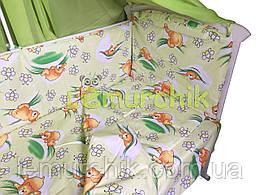 """Постельный набор в детскую кроватку (8 предметов) Premium """"Мишки соты"""" зеленый"""