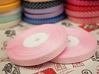 Лента репсовая 0,9 см, белый горох, фон светло- розовый