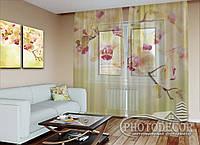 """ФотоТюль """"Золотистые орхидеи"""" (2,5м*3,0м, на длину карниза 2,0м)"""