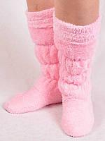 Женские теплые розовые тапочки сапожки для дома