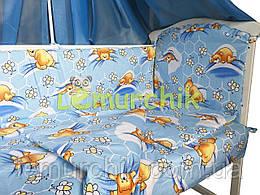"""Постільний набір в дитячу ліжечко (8 предметів) Premium """"Ведмедики соти"""" синій"""
