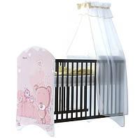 Кроватка каштан Розовый Мишка BABY BOO 100339