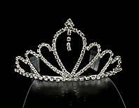 Диадема корона на металлическом обруче с гребешками, высота 6 см, серебристая