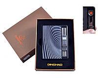 """Портсигар с USB зажигалкой """"Абстракция"""" №4844-1 с выбросом сигарет и спиралью накаливания, прекрасный подарок"""