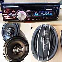 Крутой Набор Авто-звука Pioneer DVD магнитола + Овалы+ Круглые 16 см НОВЫЙ