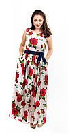 Красивое летнее женское платье длинное цветы розы белое