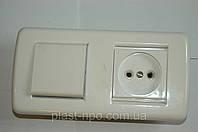 Выключатель одноклавишный+розетка  скрытой установки.