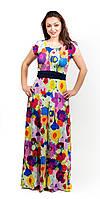 Красивое летнее женское платье в пол разноцветные цветы