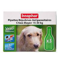 Beaphar Bio Spot On Капли от блох клещей и комаров для собак, 15-30 кг, 3 пипетки