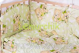 """Постільний набір в дитячу ліжечко (8 предметів) Premium """"Ведмедики сплять"""" салатовий"""