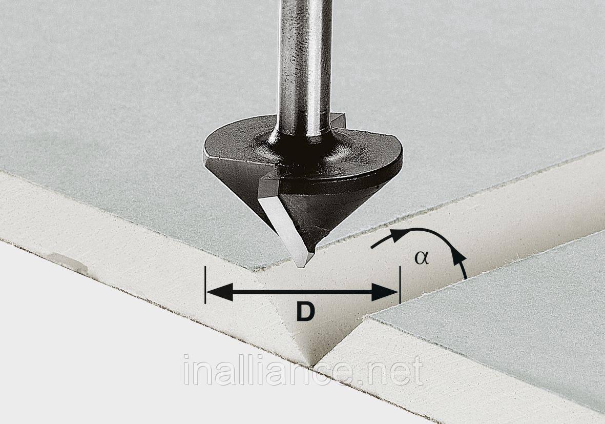 Фреза для выборки V-образного паза в листах гипсокартона HW с хвостовиком 8 мм HW S8 D32/90°, Festool 491001, фото 1