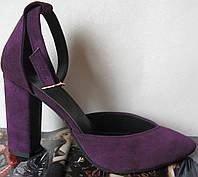 4301a37a Красивые женские красивого фиолетового цвета замшевые босоножки туфли  каблук 10 см весна лето осень