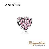 Pandora Шарм РОЗОВОЕ СВЕРКАЮЩЕЕ СЕРДЦЕ #792069PCZ серебро 925 Пандора оригинал, фото 1