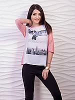 Женская стильная блузка с оригинальным принтом