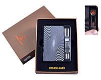 """Портсигар с USB зажигалкой """"Абстракция"""" №4844-4, вместительность 10 сигарет, функция выброса сигарет, стильный"""