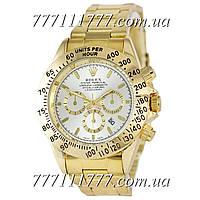 Часы мужские наручные Rolex Daytona Quartz Date Gold-Silver