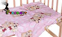 Постельный набор в детскую кроватку (3 предмета) Мишки Спят Розовый, фото 1
