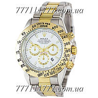 Часы мужские наручные Rolex Daytona Quartz Date Silver-Gold-White