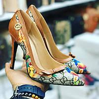 Туфли GUCCI коричнево-серые с принтом