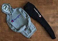 Cпортивный костюм Champion с капюшоном серый свитшот синее лого