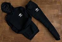 Чёрный спортивный костюм Adidas  с капюшоном