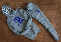 Мужской серый спортивный костюм Adidas   с капюшоном синее лого