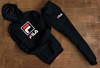 Cпортивный чёрный костюм Fila  F с капюшоном