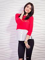Изящная блуза-обманка красного цвета