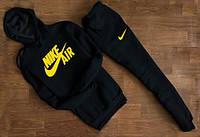 Мужской черный спортивный костюм NIKE Air с капюшоном жёлтый принт