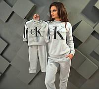Утепленный костюм спортивный женский лого Кельвин Кляйн, серия мама и дочка