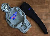 Трикотажный костюм REEBOK серый свитшот с капюшоном (синий принт)