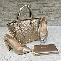 Золотистый набор CHANEL сумочка, туфли, кошелек