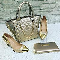 Золотисто-серебристый набор CHANEL сумочка, туфли, кошелек