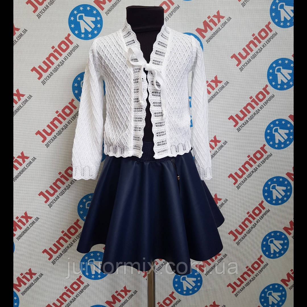 Вязаное белое болеро на девочку. Польша