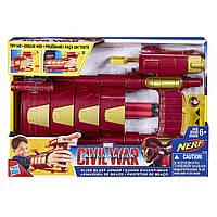 Игрушечное оружие Железного Человека от Нерф  -  Slide Blast Armor,  Nerf, Marvel, Hasbro