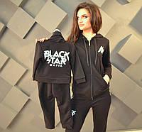 Костюм спортивный женский черный копия бренда от Тимати, серия папа, мама, детский