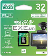 Карта памяти Goodram Class 10 UHS| U3 32GB microSDHC + SD adapter (M3AA-0320R11-DD)