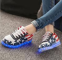 Светящиеся LED кроссовки взрослые LEDKED USA Original Флаг США, фото 1